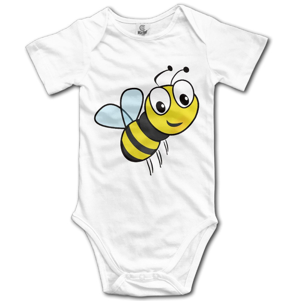 Cartoon Cute Bee Baby 100/% Cotton Rompers White