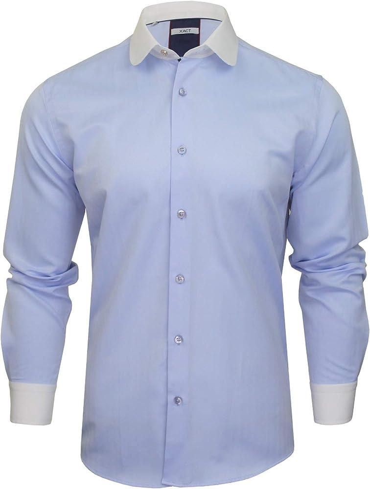 Xact - Camisa para hombre con cuello y puños en contraste blanco Azul Espiga Azul Cielo S: Amazon.es: Ropa y accesorios