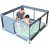 Arkmiido Extra Large Playard Baby Play Center Sturdy Square Fence with Breathable Mesh Storage Safety Play Yard Home Indoor & Outdoor for Children Toddlers (Color : Gray) (Large)
