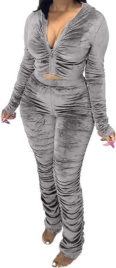 Women Solid Color Hoodie Long Sleeves Zipper Bodycon Clubwear Sporty Jumpsuit