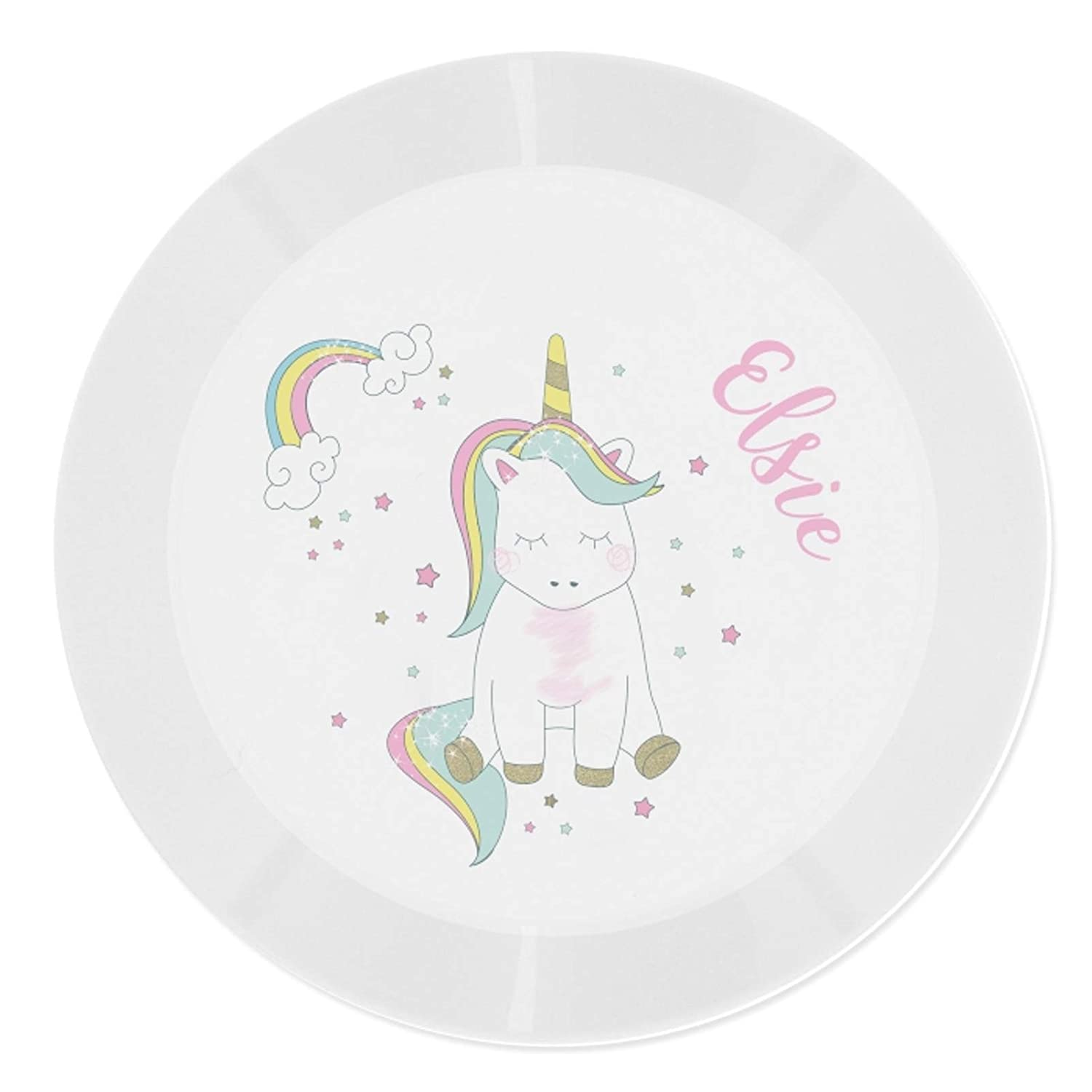 Personalised Childrens Plastic Plate Drop Proof Baby Unicorn