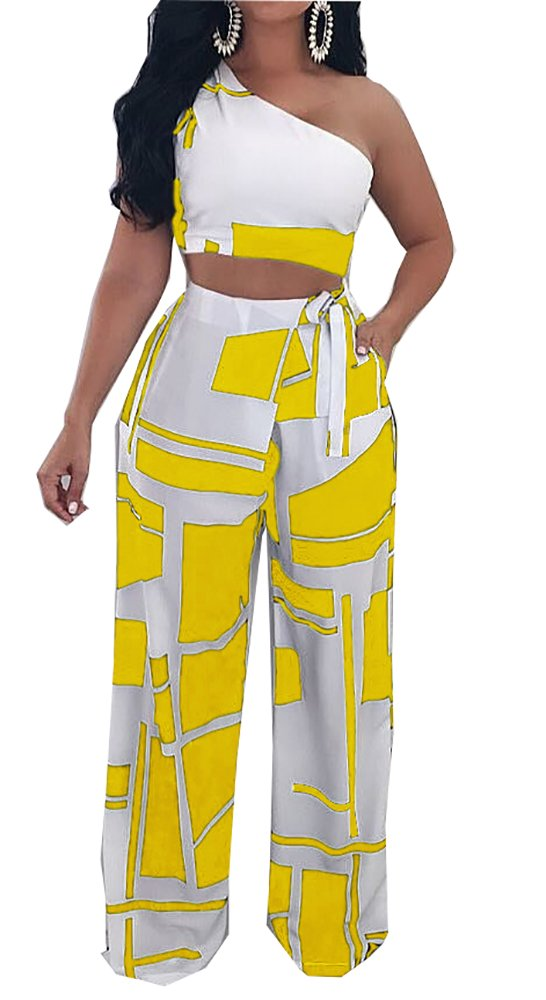 Muesily Women's One Shoulder Crop Top & Boot Cut Colorblock Pantsuit Two Pieces