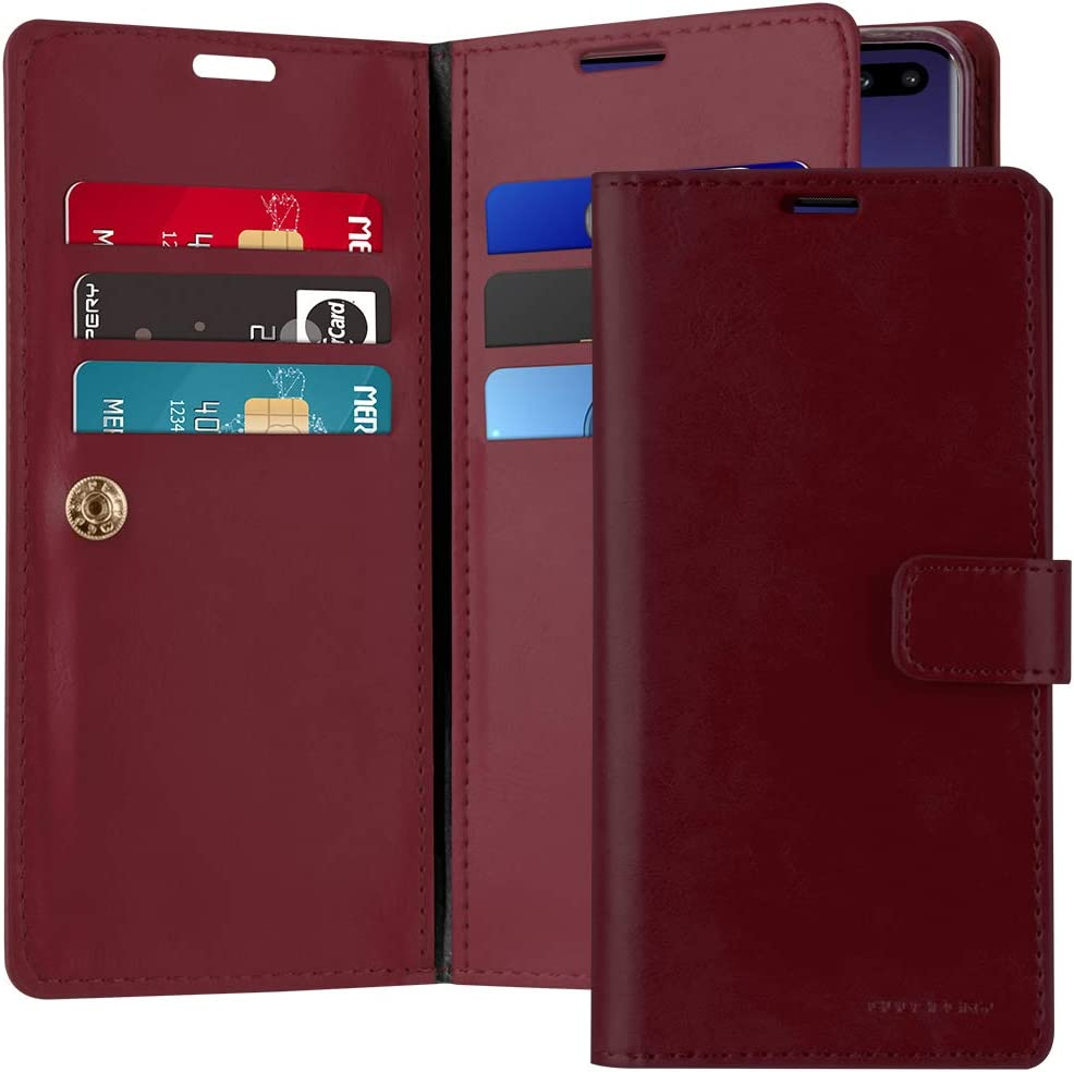 Goospery Mansoor Wallet for Samsung Galaxy S10 Plus Case (2019) Double Sided Card Holder Flip Cover (Wine) S10P-MAN-WNE