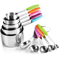 U Chef Tazas y cucharas medidoras (set de 10 piezas) de acero inoxidable de grado alimenticio/Tazas medidoras/Cucharas…