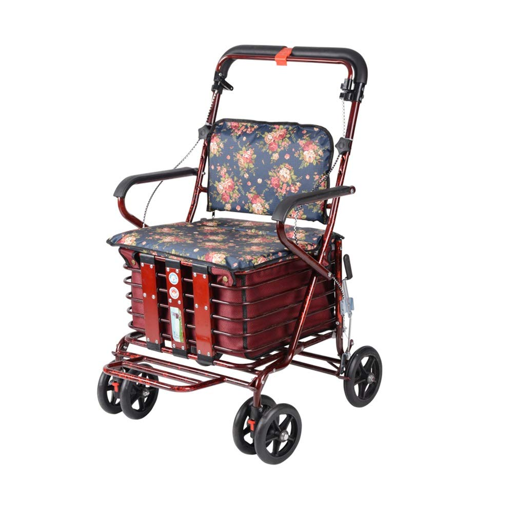 Rollator Walker That Converts to A Wheelchair,Walker Rollator with Seat and Foot Rest Lockable Brake Auxiliary Walking Safety Walker (Color : Burgundy) by YL WALKER
