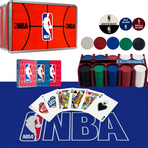 - NBA 200 Chip Poker Set with Collector's Tin with Cards, Felt