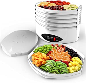 NutriChef 5-Tray Food Dehydrator Machine - Professional Electric Multi-Tier Hanging Food Preserver, Meat or Beef Jerky Maker, Fruit or Vegetable Heat Circulation Dryer - PKFD18WT