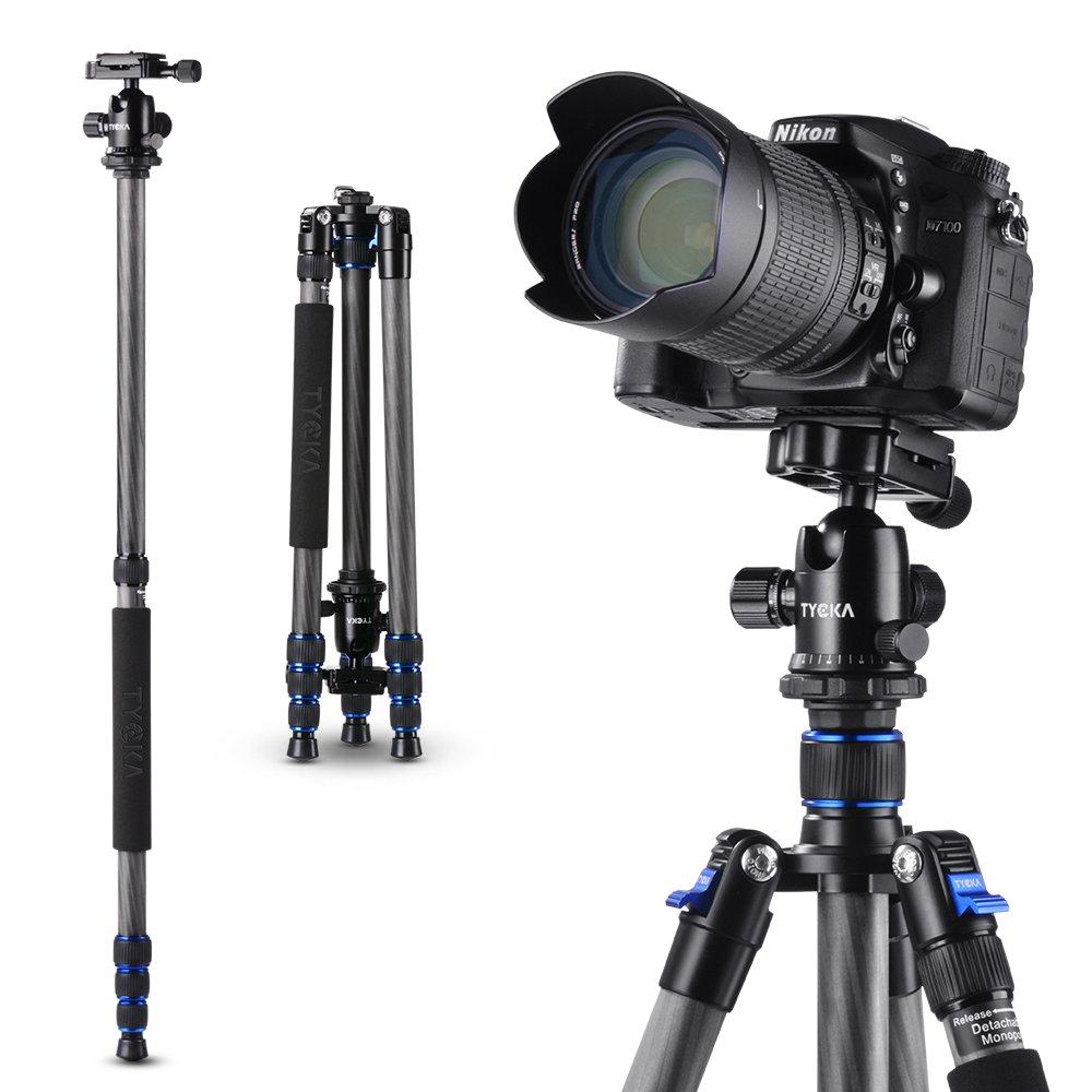 Treppiede Reflex Fotocamera in fibra di carbonio da 148 cm con testina in metallo a sfera che rotea a 360/° di blocco di sicurezza per gambe; per fotocamere DSLR Tycka Treppiede per Fotocamera