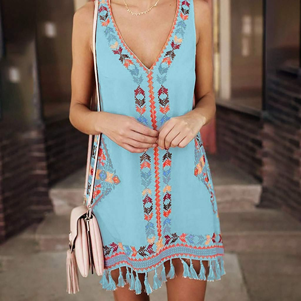 Lloopyting Womens Bohemia V-Neck Print Tassel Beach Dress Womens Fashion Summer Casual Print Sleeveless Maxi Dress