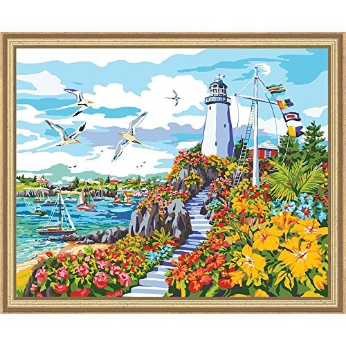 Plaid Creates Paint by Number Kit (16 by 20-Inch), 22044 Coastal Paradise