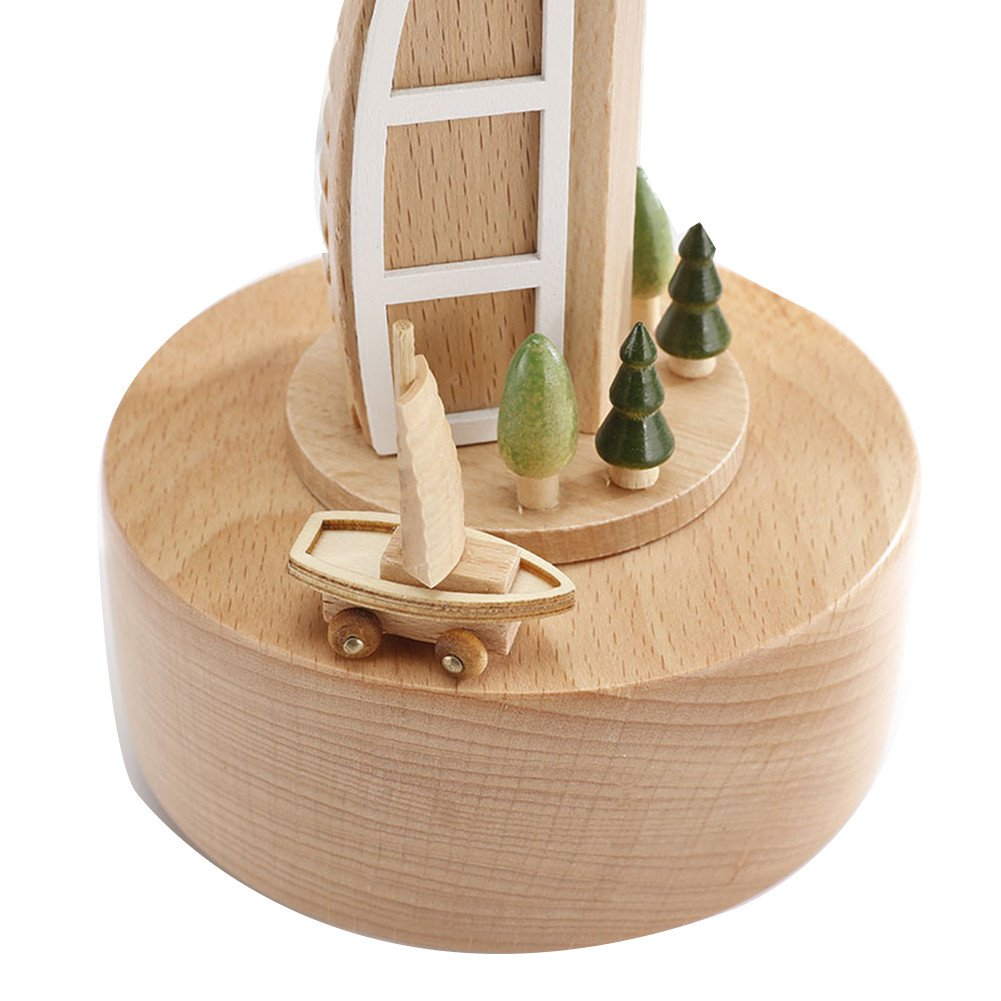 cheerfulus Wooden Music Box Baby Bed Toy Decoration Birthday Present Christmas Gift for Kids