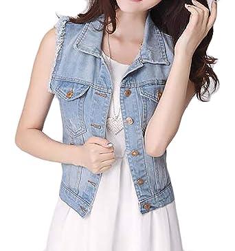 4f7f76f2259884 MK988 Women s Button Down Summer Sleeveless Vest Waistcoat Denim Jacket  Coat Outwear 1 XXS