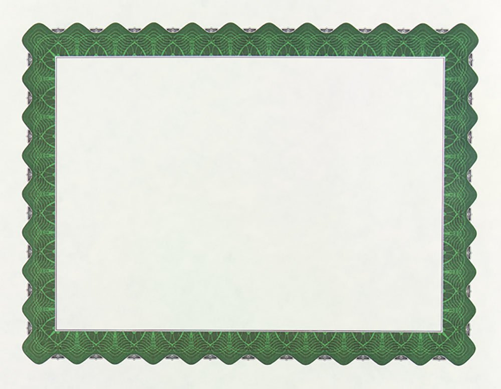 Great Papers! Metallic Green Border Certificate, 8.5''x 11'', 100 Count (934200)