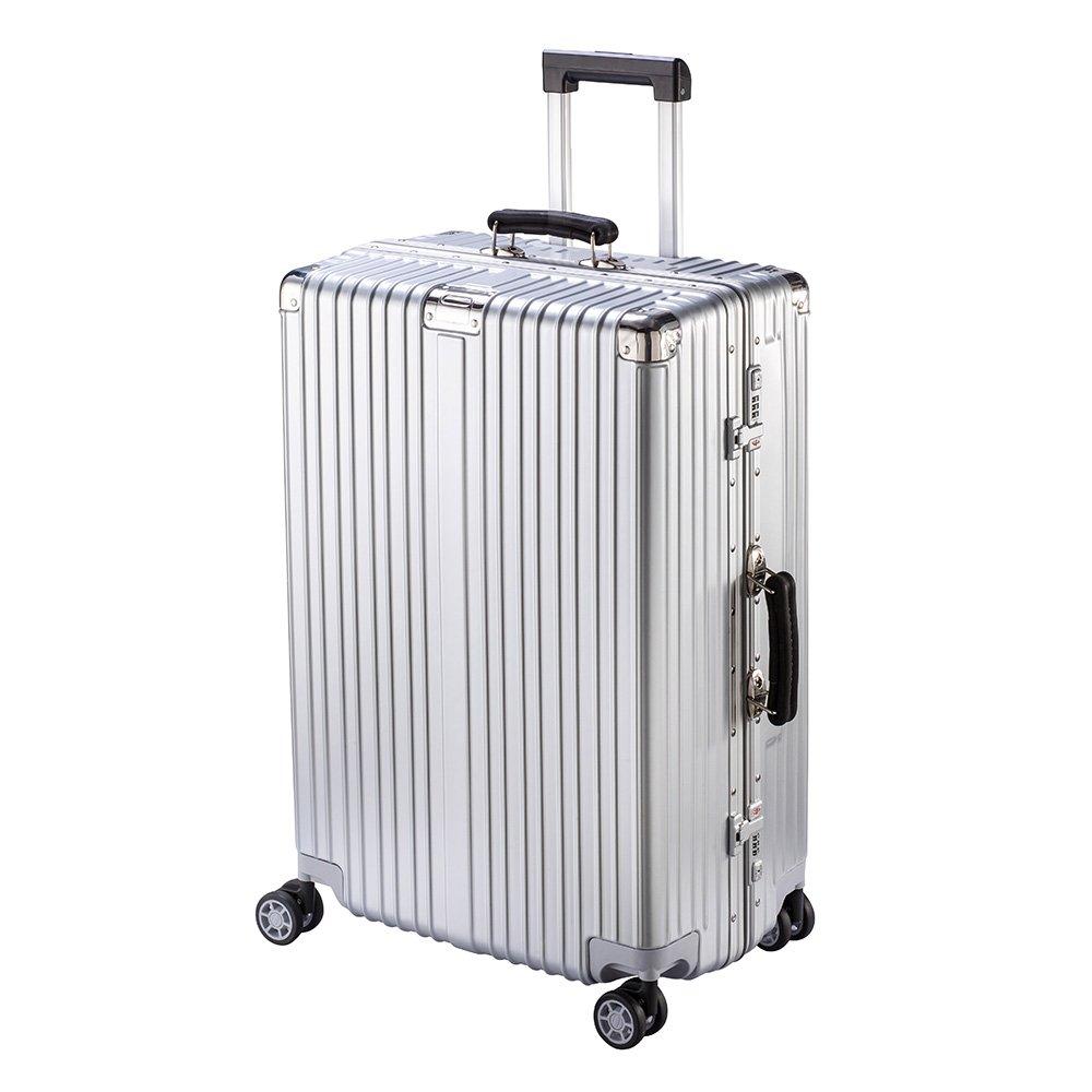 XZY スーツケース キャリーケース 無段階調節 TSAロック搭載 8輪360度 荷崩れを防ぐ Sサイズが機内持ち可 B077YK1DKK M|シルバー シルバー M