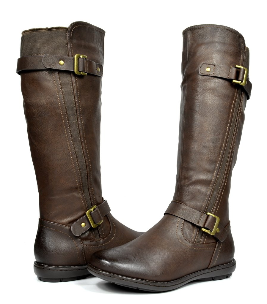 DREAM PAIRS Women's Trace Brown Faux Fur-Lined Knee High Winter Boots Wide Calf Size 12 M US