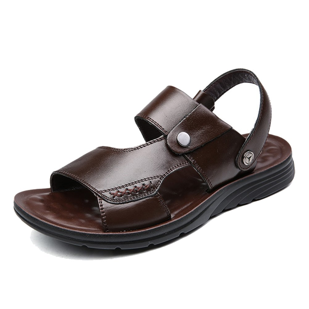 DeLamode Men Genuine Leather Beach Shoes Cow Leather Summer Cool Antiskid Sandals Brown-37