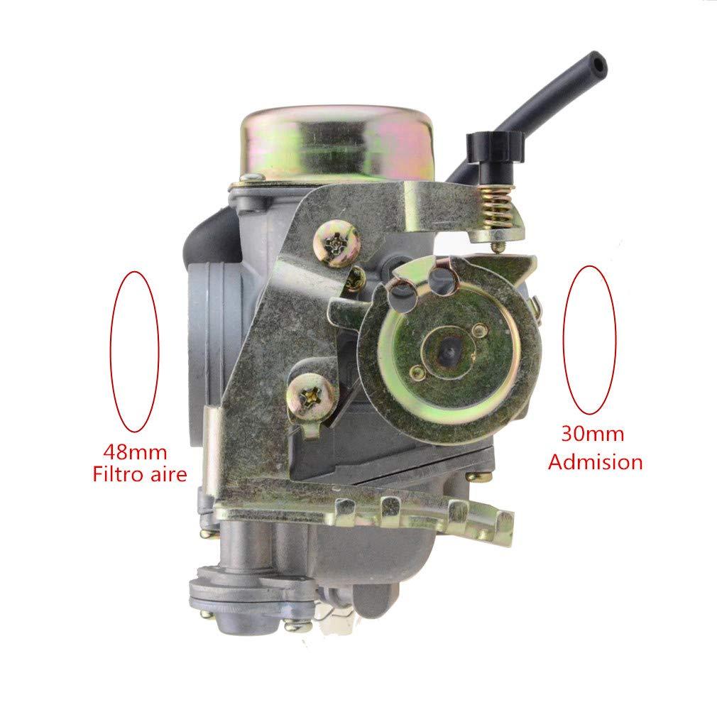 GOOFIT Carburador Moto 30mm PD30J con Electr/ónico de Acelerador para Linhai 260 Motor Ciclomotor y Scooter Pit Bike ATV Quad Plata