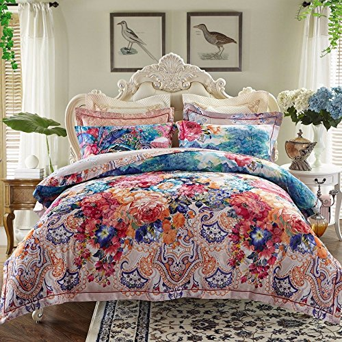 - Super Soft 4-Piece Bedding Set,Wrinkle, Fade & Stain Resistant All Cotton European and American Jacquard Four-Piece Sets, Cotton Bedding Set, J, King