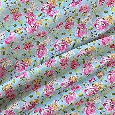 Tela popelín estampada digital por metros - 100% algodón - 150 cm ancho - Largo a elección de 50 en 50 cm - Para decoración y ropa de vestir | Azul con flores rosa ...