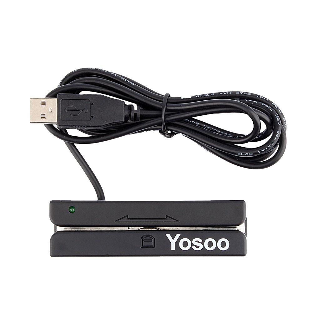 FTVOGUE USB Mini Credit Card 3 Triple Tracks Hi-co Magnetic Mag Stripe Strip Credit Card Swipe Speed Reader Swiper for POS System Cashier Registry Msr