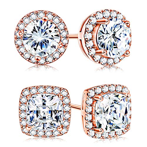 Adramata Rose Gold Cubic Zirconia Halo Stud Earrings for Women Round & Square Cut CZ Earrings Set