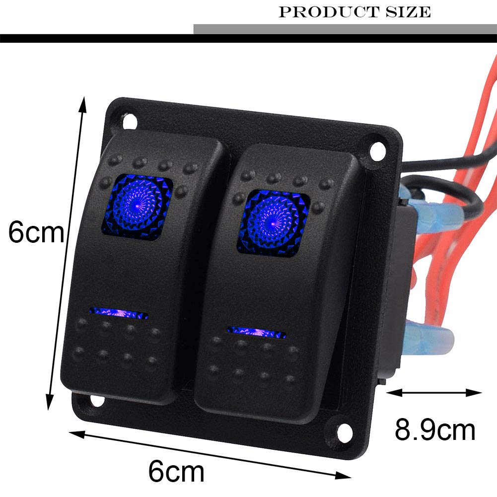JUST N1 Rocker Switch Panel 2 Gang Waterproof Marine Boat LED Indicator with Circuit Breaker for 12V RV Auto Car Vehicle Truck Trailer Styling Fuse Panel On-Off Universal