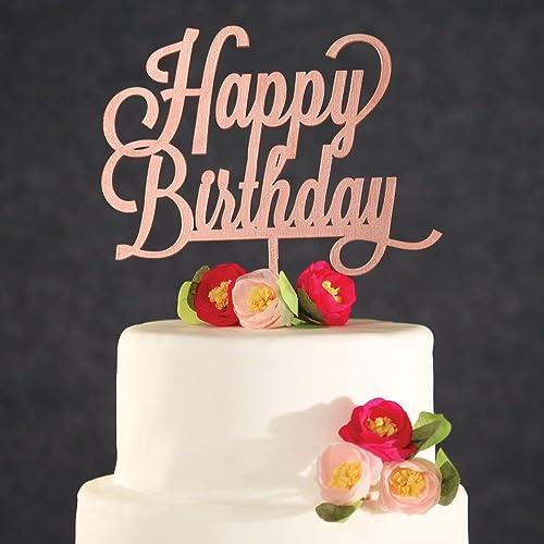 Amazon Com Birthday Cake Topper Rose Gold Happy Birthday Cake