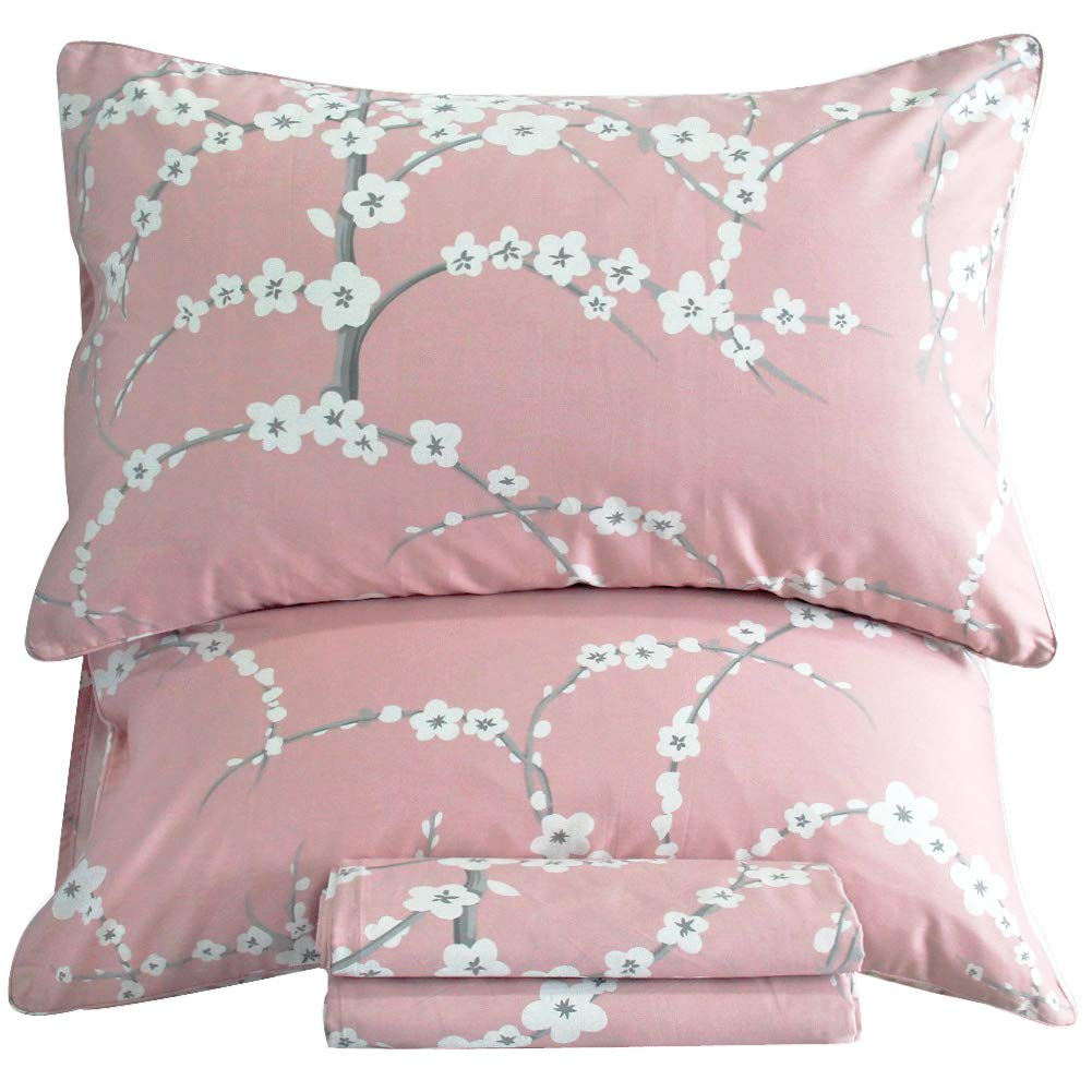 Queen's House Egyptian Cotton Sheets Deep Pocket Pink Cherry Blossom Printed Bedding Sheets Set Twin Size-Pattern Y