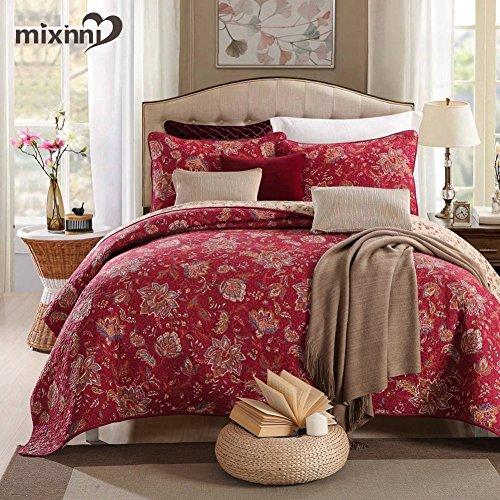 mixinni 100% Cotton 3-Piece Floral Reversible Burgundy Quilt Set(1 Quilt and 2 Shams) Bedspread Coverlet Set-King Size by