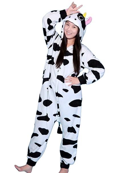 Y&L Unisex Adulto Pijamas Loungewear Ropa De Dormir De Halloween Kigurumi Mamelucos Vaca X-Large