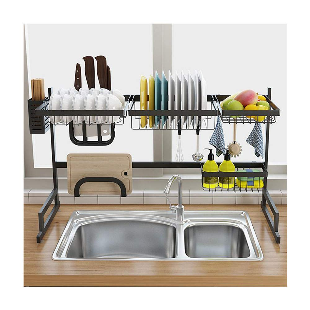Dish Drying Rack Over Sink Kitchen Supplies Storage Shelf Countertop Space Saver Drainer Shelf for Kitchen Supplies Storage Stainless Steel Kitchen Drainer Shelf (Shipping from US) (A)