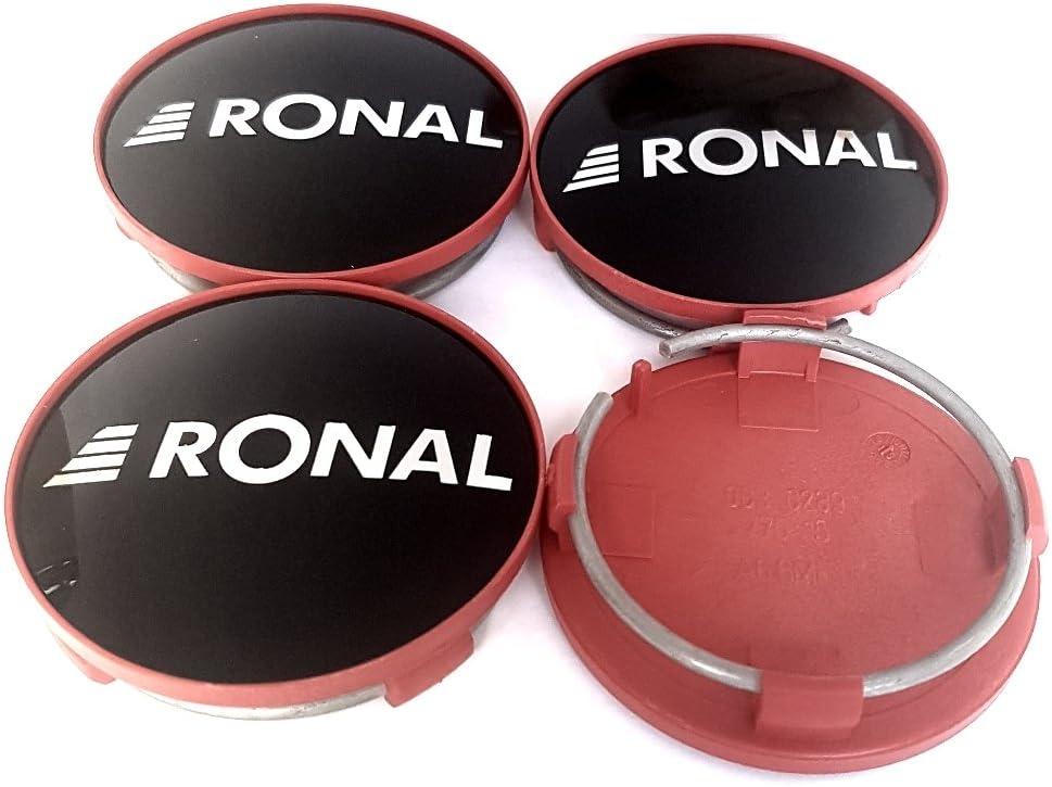 Ronal Lot DE 4 Cache-moyeux dorigine 62,2 mm Noir Brillant Bords Rouges