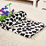 Fund Ultra Soft Fleece Print Pet Blanket Bed Kennel Cover Polyester Dog Puppy Cat Cushion Mat (L(80X100CM) Black...