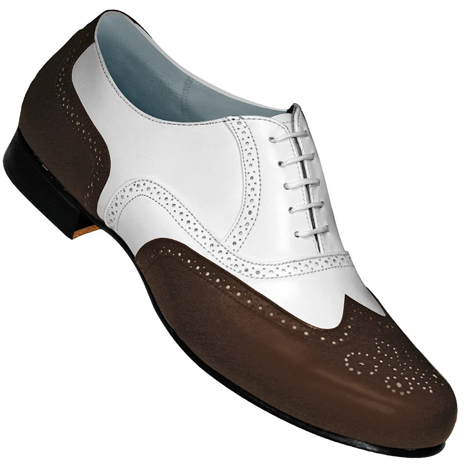 Rockabilly Men's Clothing Aris Allen Mens 1930s Brown and White Spat Style Wingtip Dance Shoe $48.95 AT vintagedancer.com