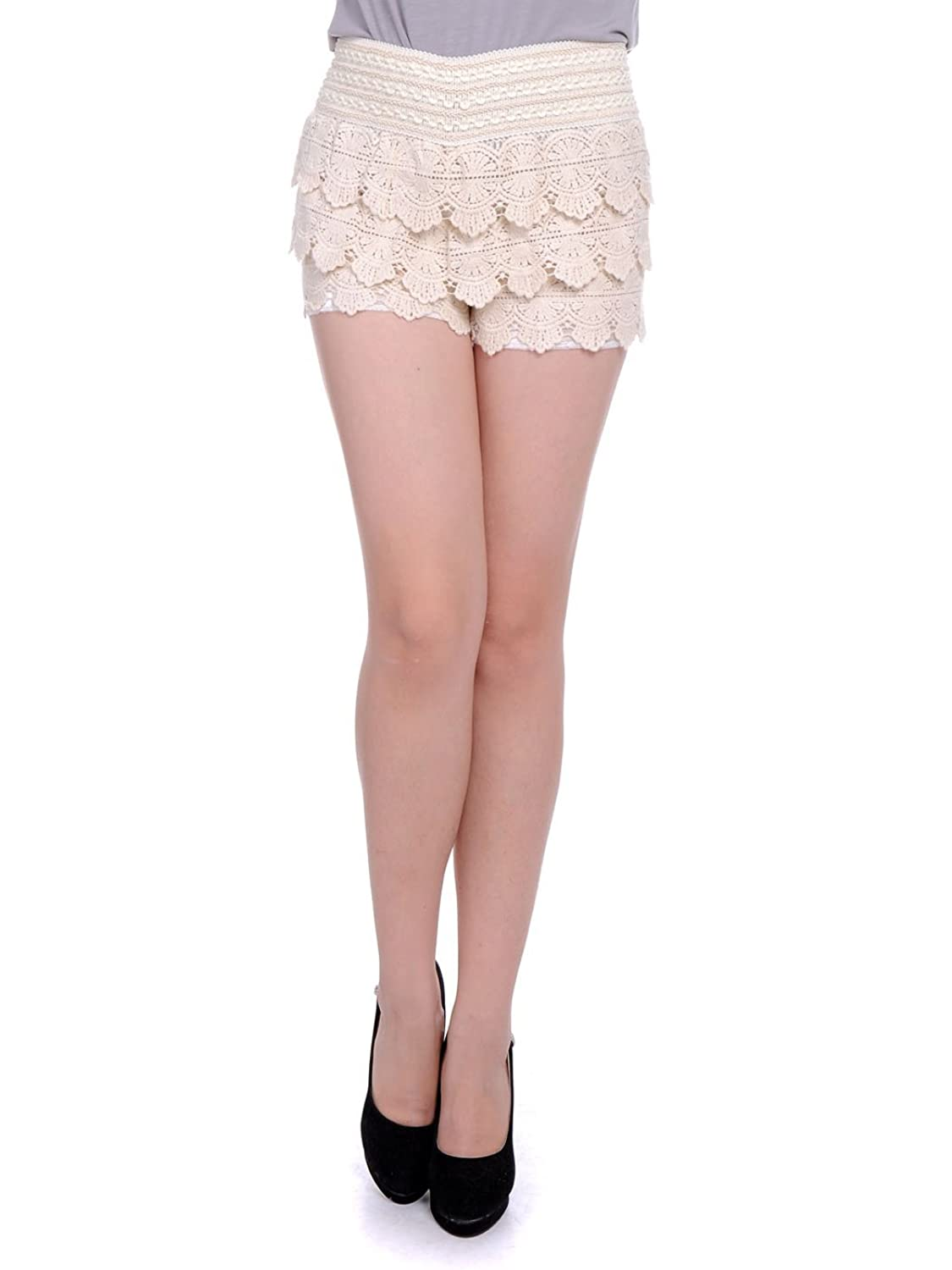 Anna-Kaci S/M Fit Beige Tiered Layered Crochet Net Lace Triangle Point Shorts