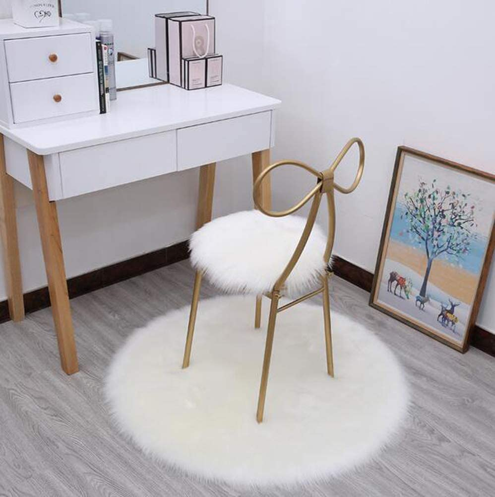 Tourequi Solid Fluffy Long Plush Non-Slip Round Seat Cushions Cover Stool Chair Pads White, Diameter:13.7
