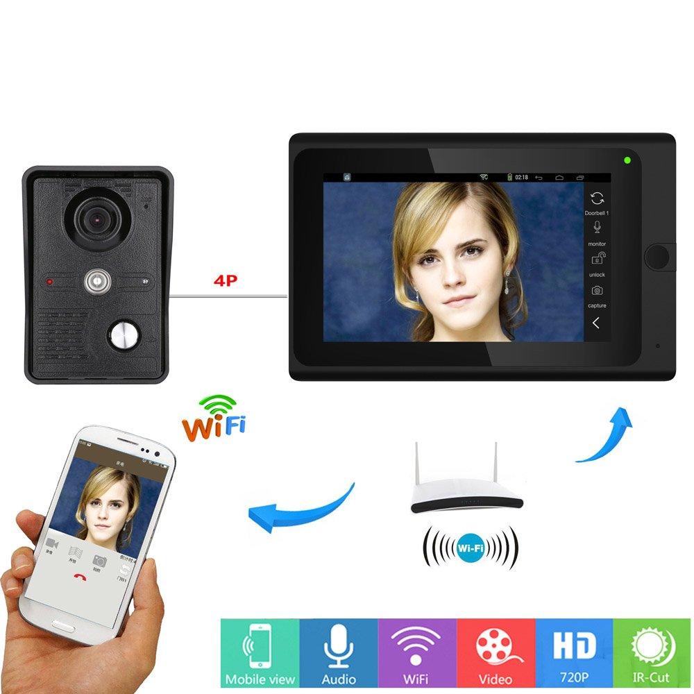 Video-Türklingel-Telefon 7 Zoll Verdrahtet Gegensprechanlage Türklingel Unterstützung Entsperren Infrarot-Nachtansicht Regenfest 1-Kamera 1-Monitor