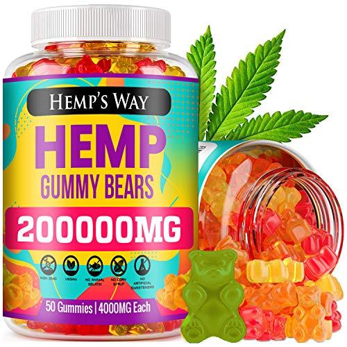Hemp Gummies – 200,000mg, Stress, Insomnia & Anxiety Relief – Made in USA – Tasty & Relaxing Herbal Gummies – Premium…