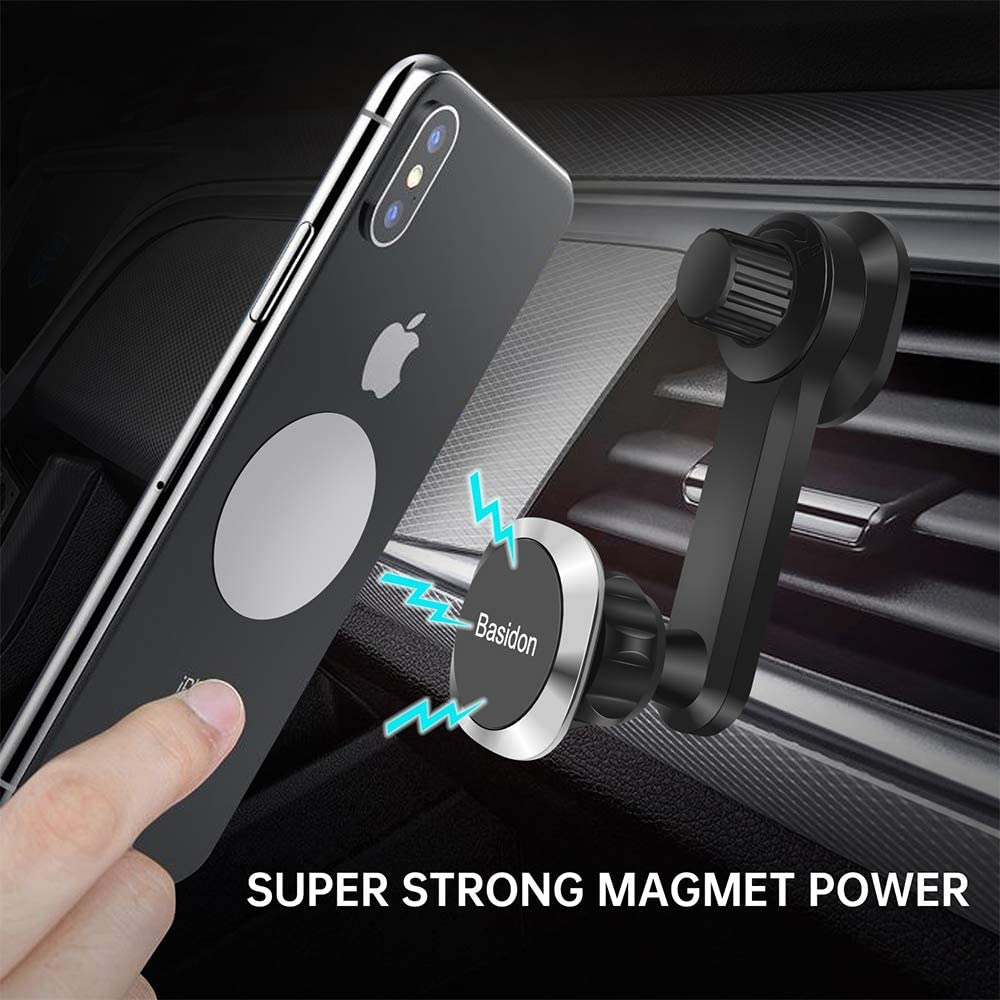 Unobstructed Car Vent Phone Holder Compatible with iPhone 11Pro,Xr,Xs,XS MAX,XR,X,8,8Plus,7,7Plus,6,6Plus,Galaxy Note S8 S9 S10 /& All Smartphones Upgraded CLAMP Magnetic Phone Car Mount,