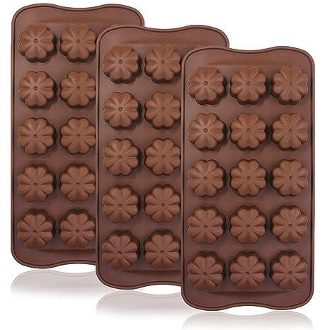 3 pcs Trébol de cuatro hojas Chocolate Candy moldes, Finegood 15-cavity silicona reutilizable