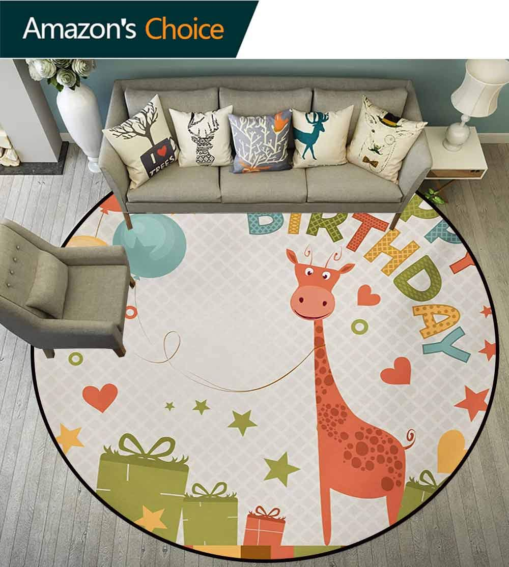 RUGSMAT Kids Birthday Carpet Gray Round Area Rug,Old Cartoon Giraffe with Box Balloons Stars Celebration Image Pattern Floor Seat Pad Home Decorative Indoor,Diameter-51 Inch Green Pink and Marigold
