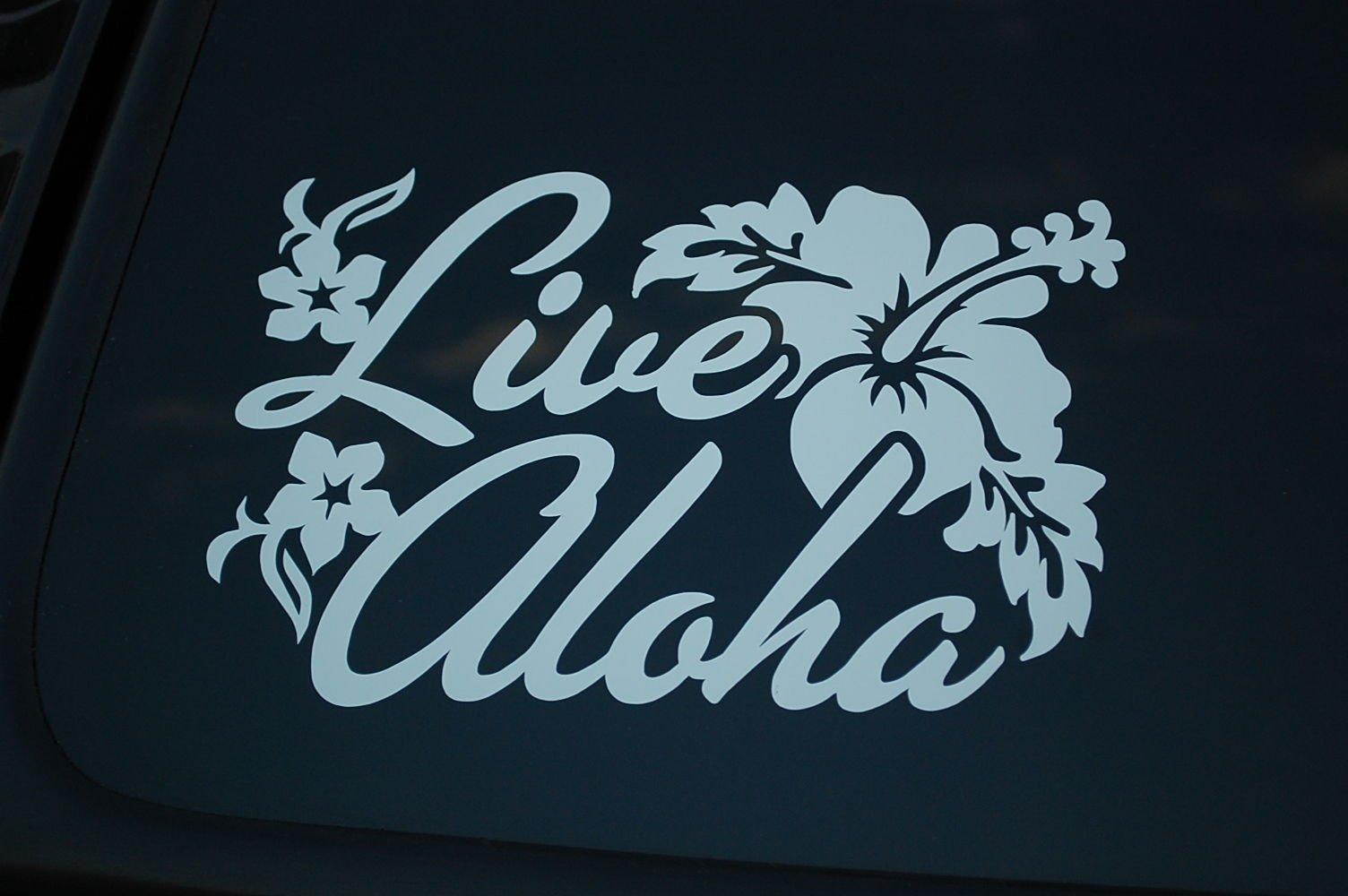 LIVE ALOHA Sticker Vinyl Die Cut Decal Hawaii Car Window Home Wall Deco JDM V295 (18'' x 12'', White)