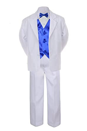 9cb0680ff 7pc ROYAL BLUE Vest Bow Tie Boy Baby Toddler Kid White Formal Suit Tuxedo S-