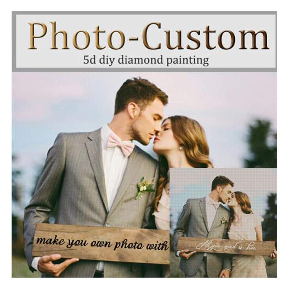 Custom Painting, 11.7x15.8inch//30x40cm 5D DIY Diamond Painting Personalized Photo Portrait Painting Full Diamond Square Diamond Cross Stitch Embroidery Decoration Family