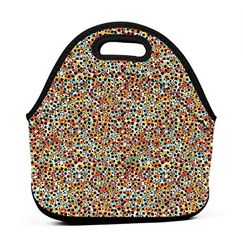 Diner Scroll (Rugged Lunchbox Modern,Nature Scroll Circles,cat lunch bag for men)