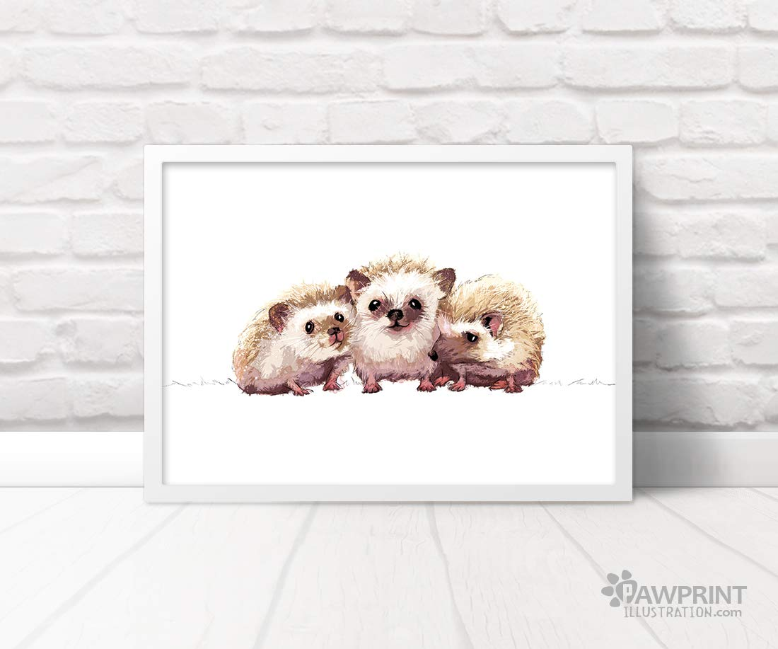 Triplet Hedgehog Woodland Animal Nursery Art Print by Pawprint Illustration Frame not included Childrens Wall Art