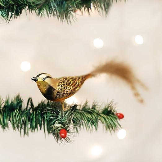 MEODOWLARK CLIP BIRD FEATHER TAIL OLD WORLD CHRISTMAS GLASS ORNAMENT NWT 18069