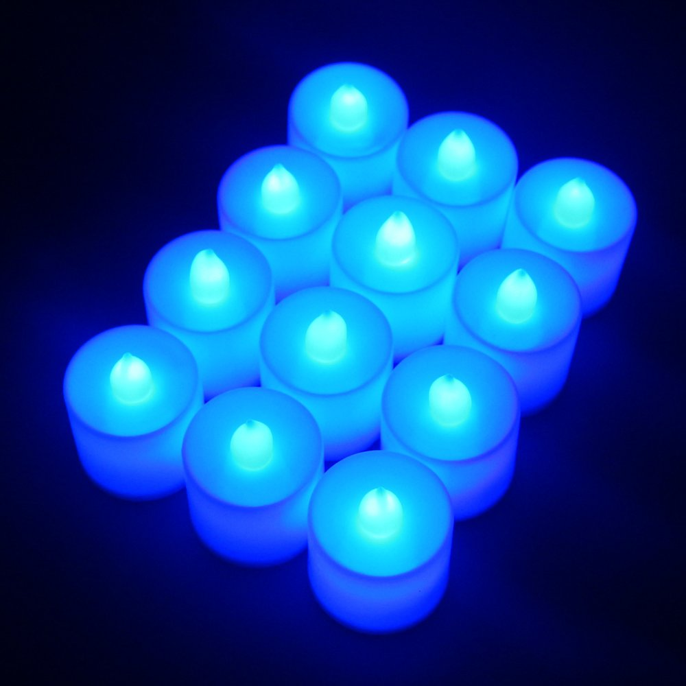 Flameless Candles,T-Trees LED Tea Light Candles With Battery-Powered Safety Electric Flickering Bulb Tealight Candles Decorations For Christmas Wedding Birthday Party Celebration (Blue 12pcs) by T-Trees (Image #3)