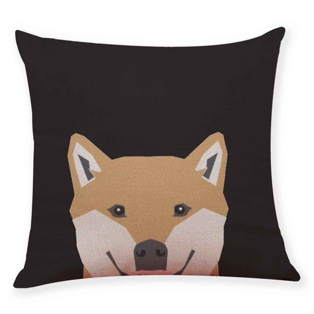Cotton Blend Pgojuni Cute Dog Head Pillow Cases Soft Sofa Cushion Cover Home Decor for Sofa/Couch 1pc (H)