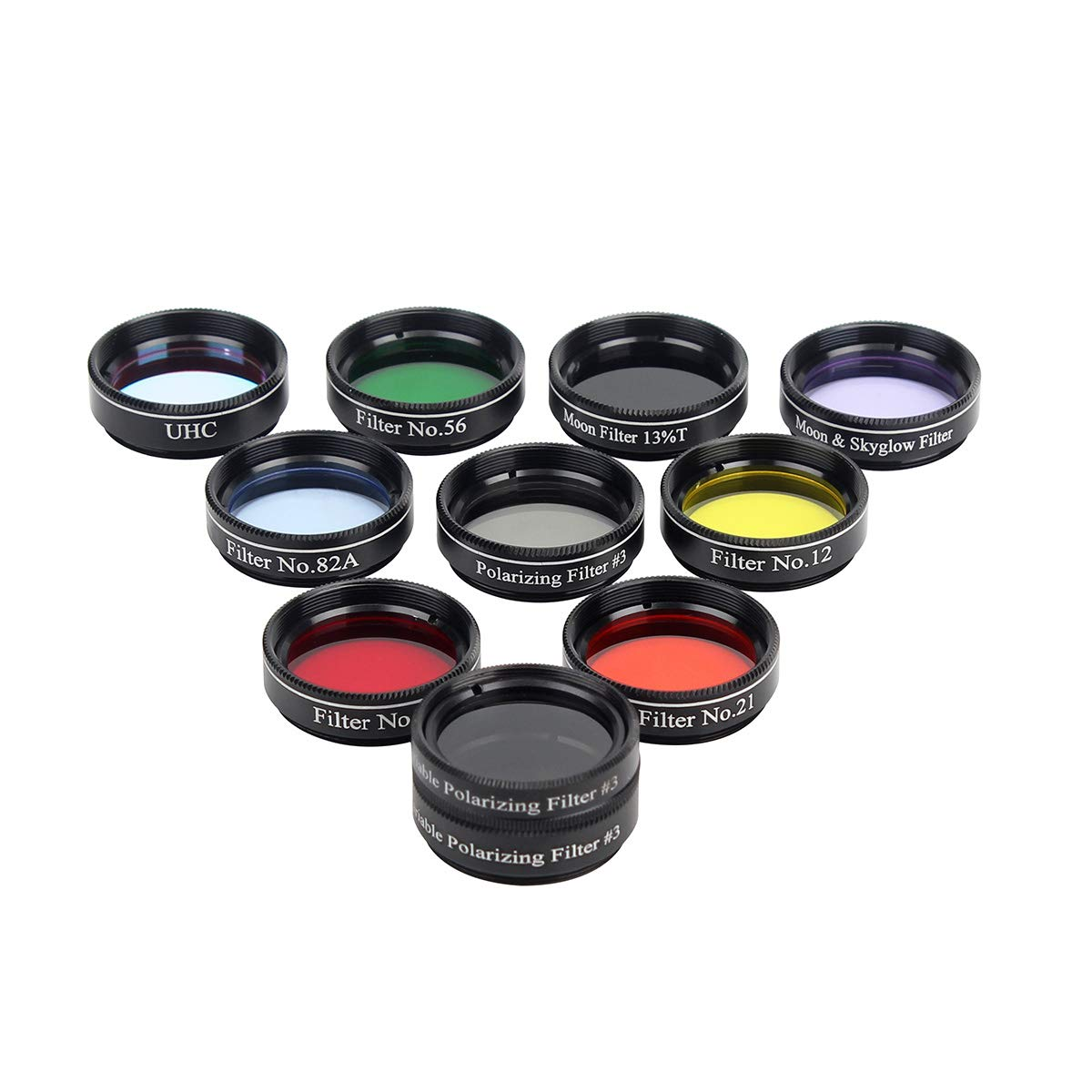 Gosky Telescope 1.25inch 10 Filters Set-5 Plantary Color Filter, Crystal Moon Filter, Variable Polarizing Filter, UHC Filter,Moon 13% Filter for 1.25inch Telescope Eyepieces by Gosky